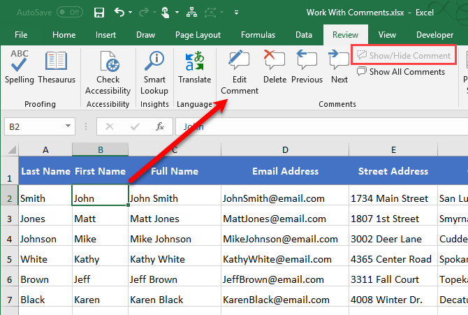 No comment indicator on cell in Excel