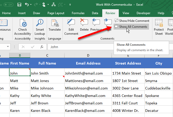 Show All Comments in Excel