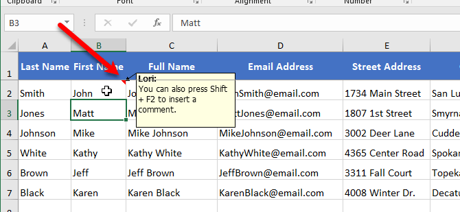 Hover over cell to see comment in Excel