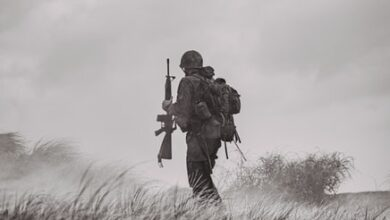 Soldier returning from a battle.